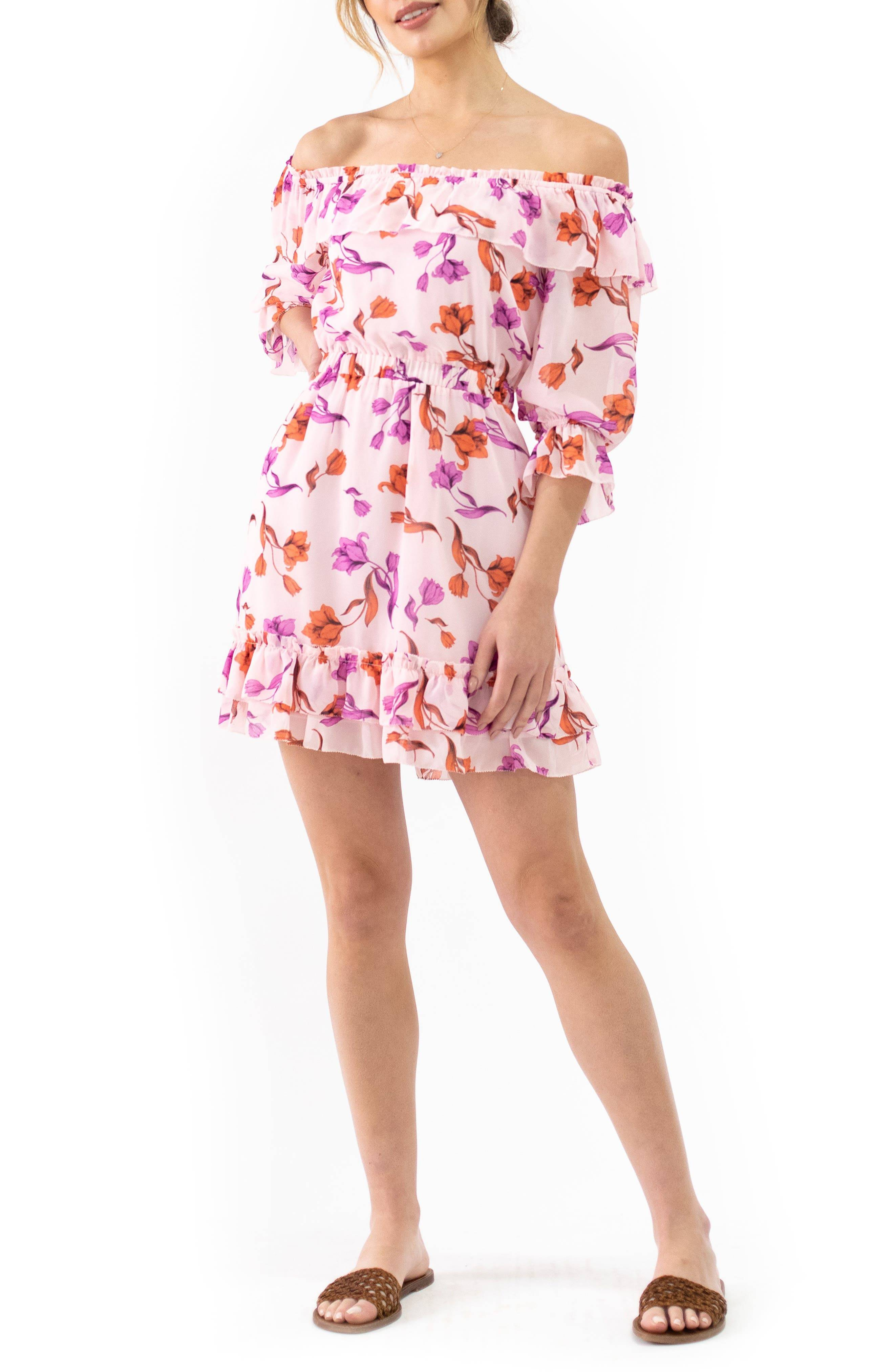 Lost + Wander Women's Lost + Wander Garden Of Delight Off The Shoulder Minidress, Size Large - Pink