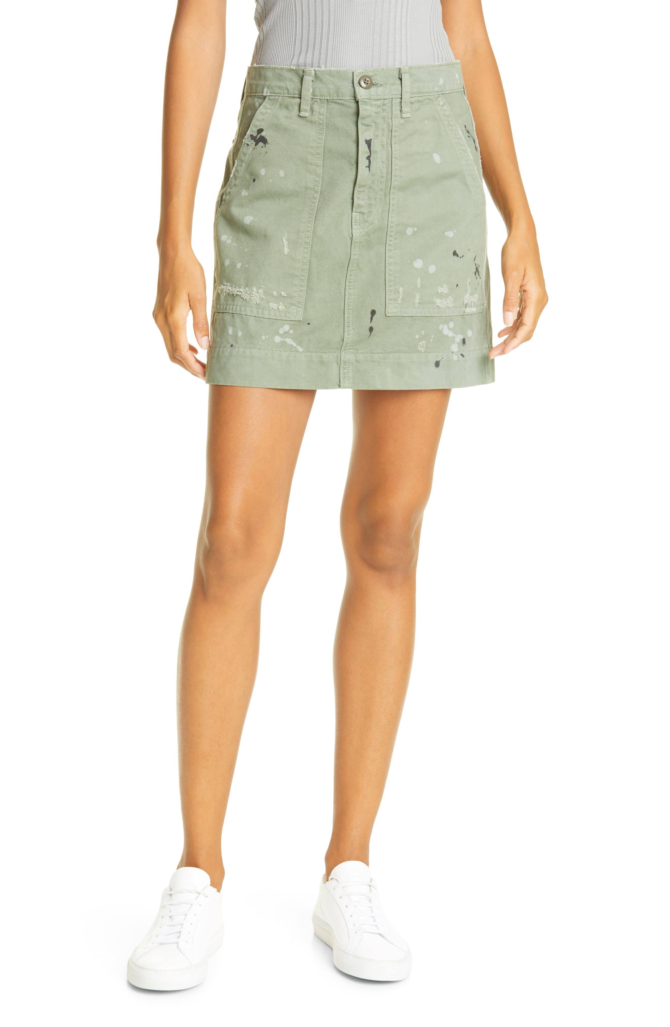 NSF Clothing Women's Nsf Clothing Goldie Painted Miniskirt, Size 24 - Green