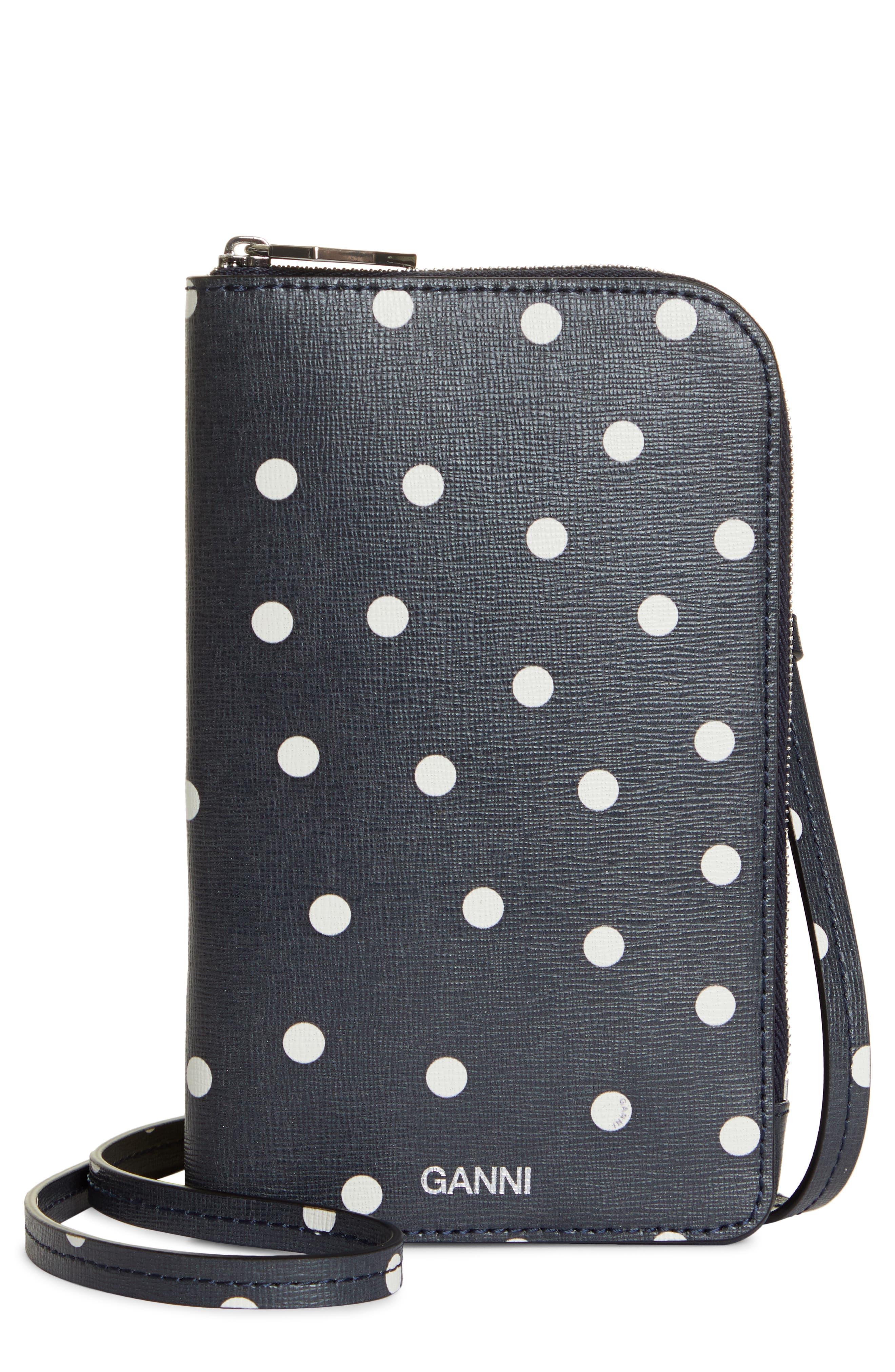 Ganni Print Leather Phone Crossbody Bag - Black