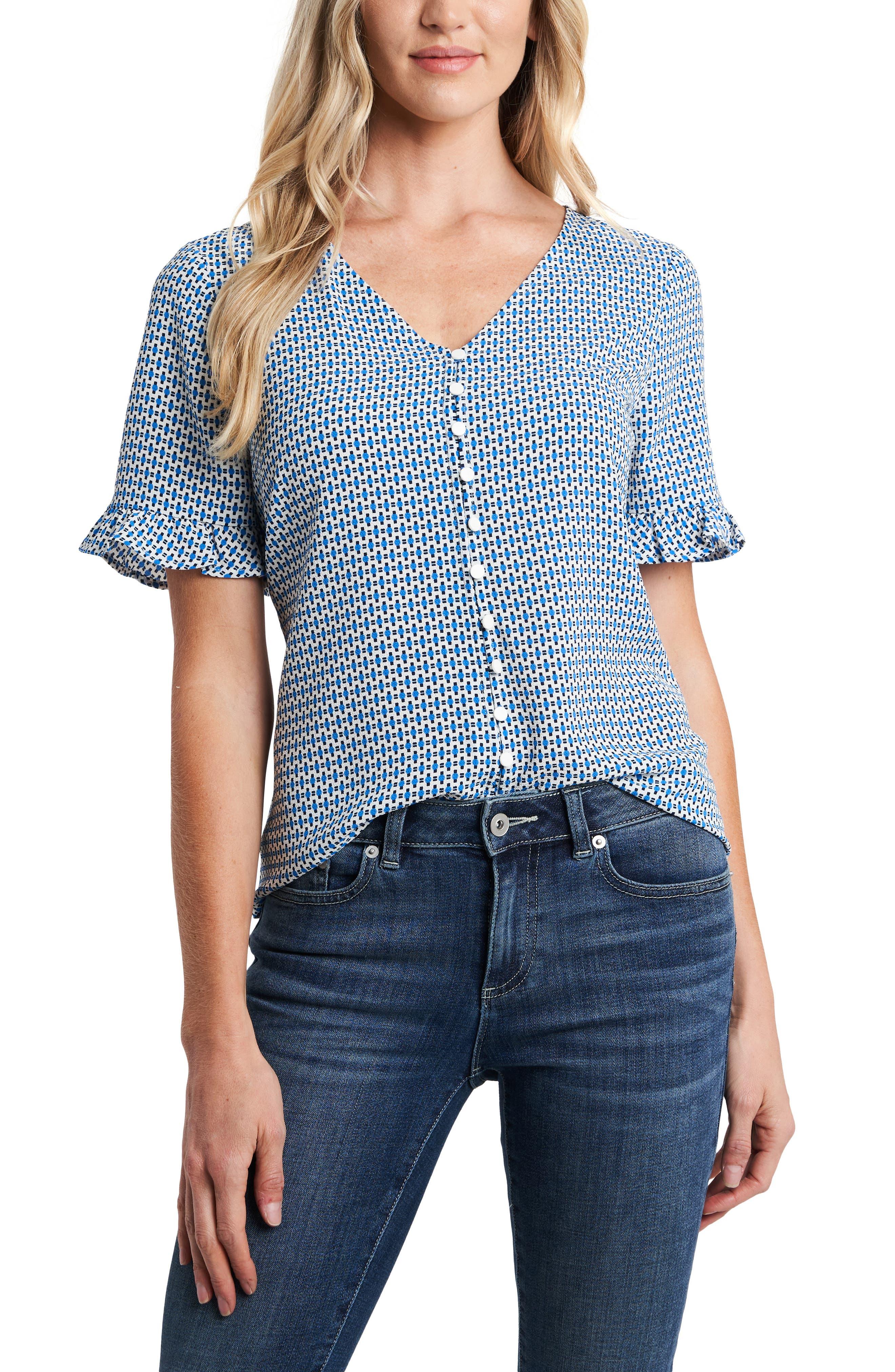 CeCe Women's Cece Garden Geo Print Ruffle Sleeve Top, Size X-Large - Blue