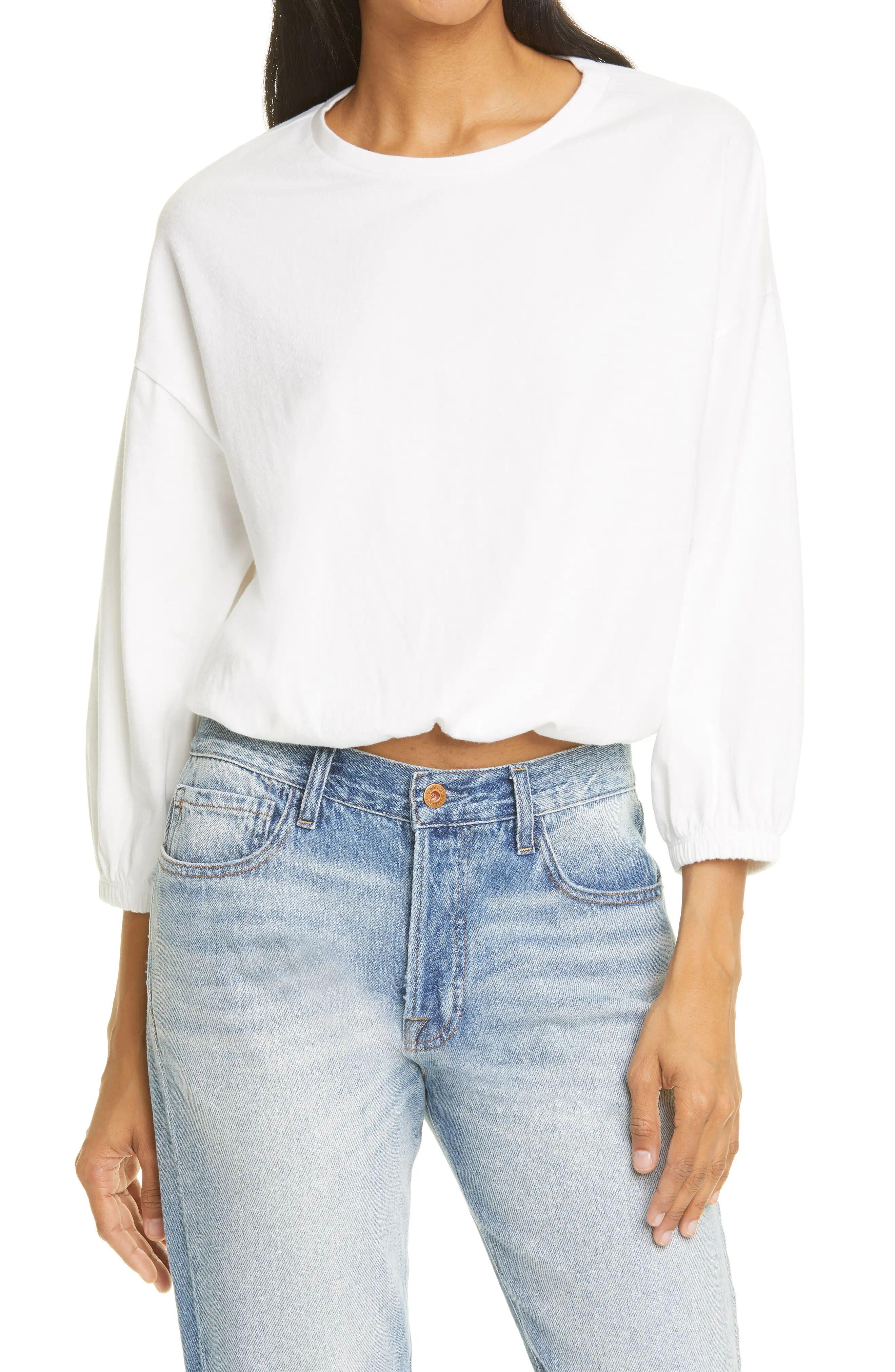 NSF Clothing Women's Nsf Clothing Annelise Shirred Bubble Sleeve Top, Size Medium - White