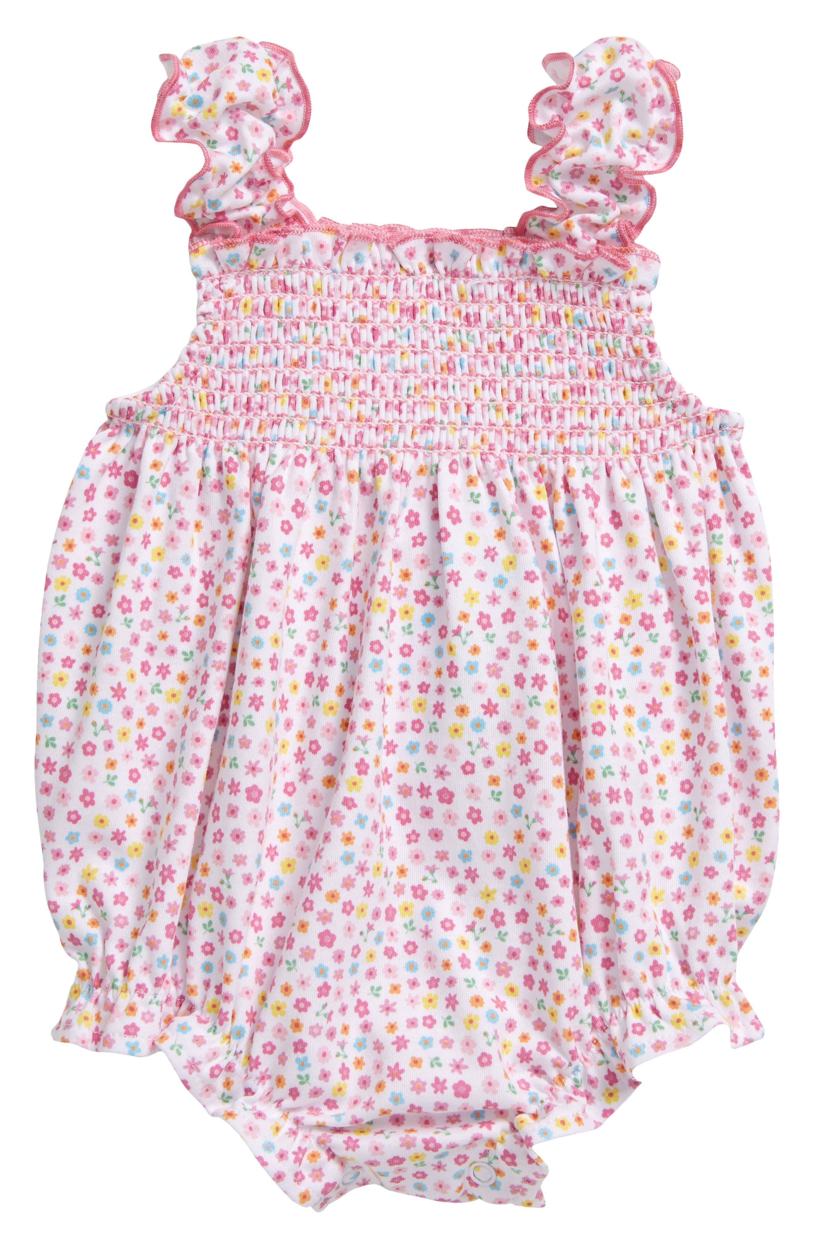 Kissy Kissy Infant Girl's Kissy Kissy Unicorn Gardens Floral Bubble Romper, Size 3-6M - Pink