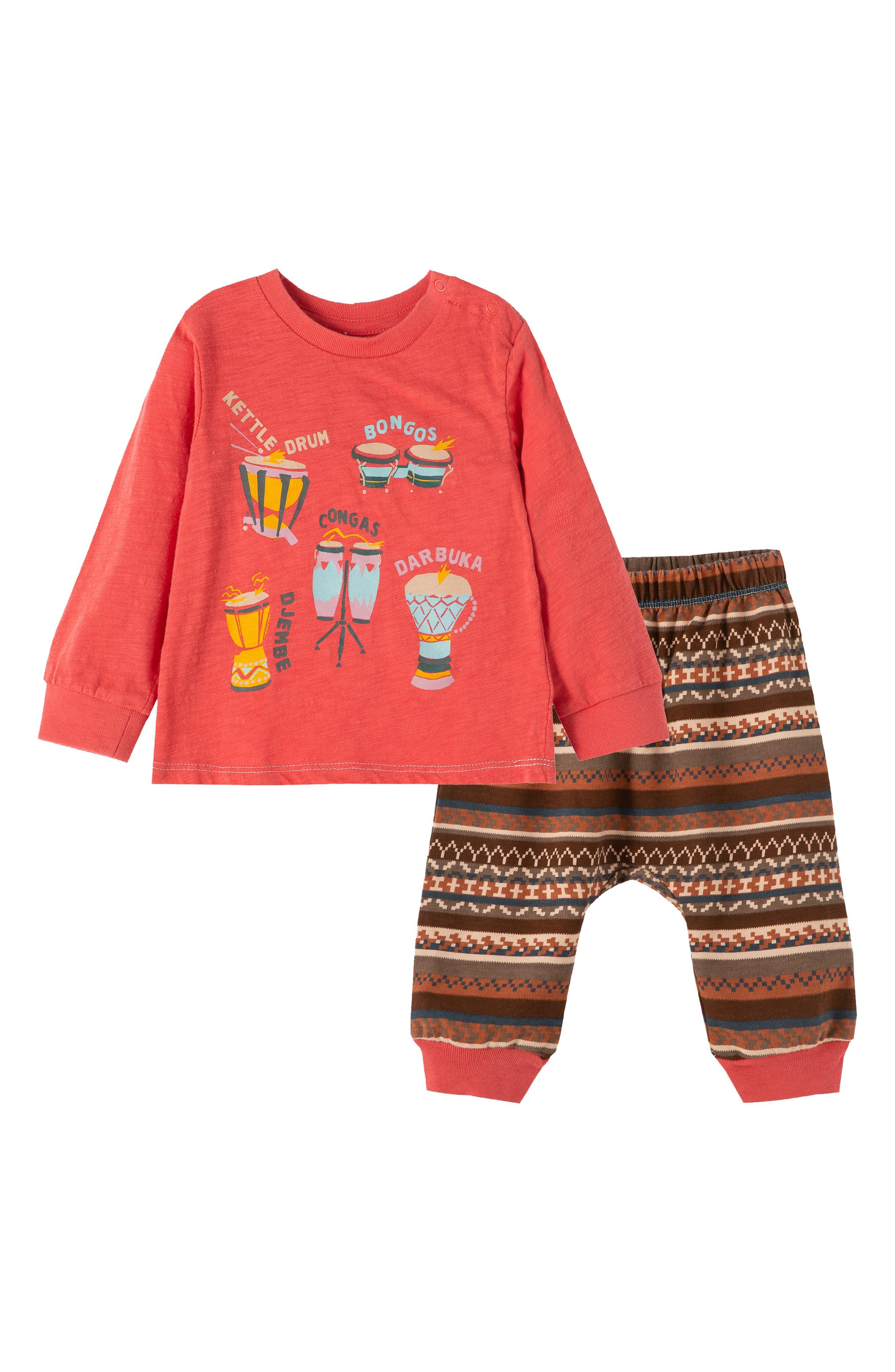 Peek Essentials Infant Boy's Peek Essentials Never Too Young To Make Music Shirt & Pants Set