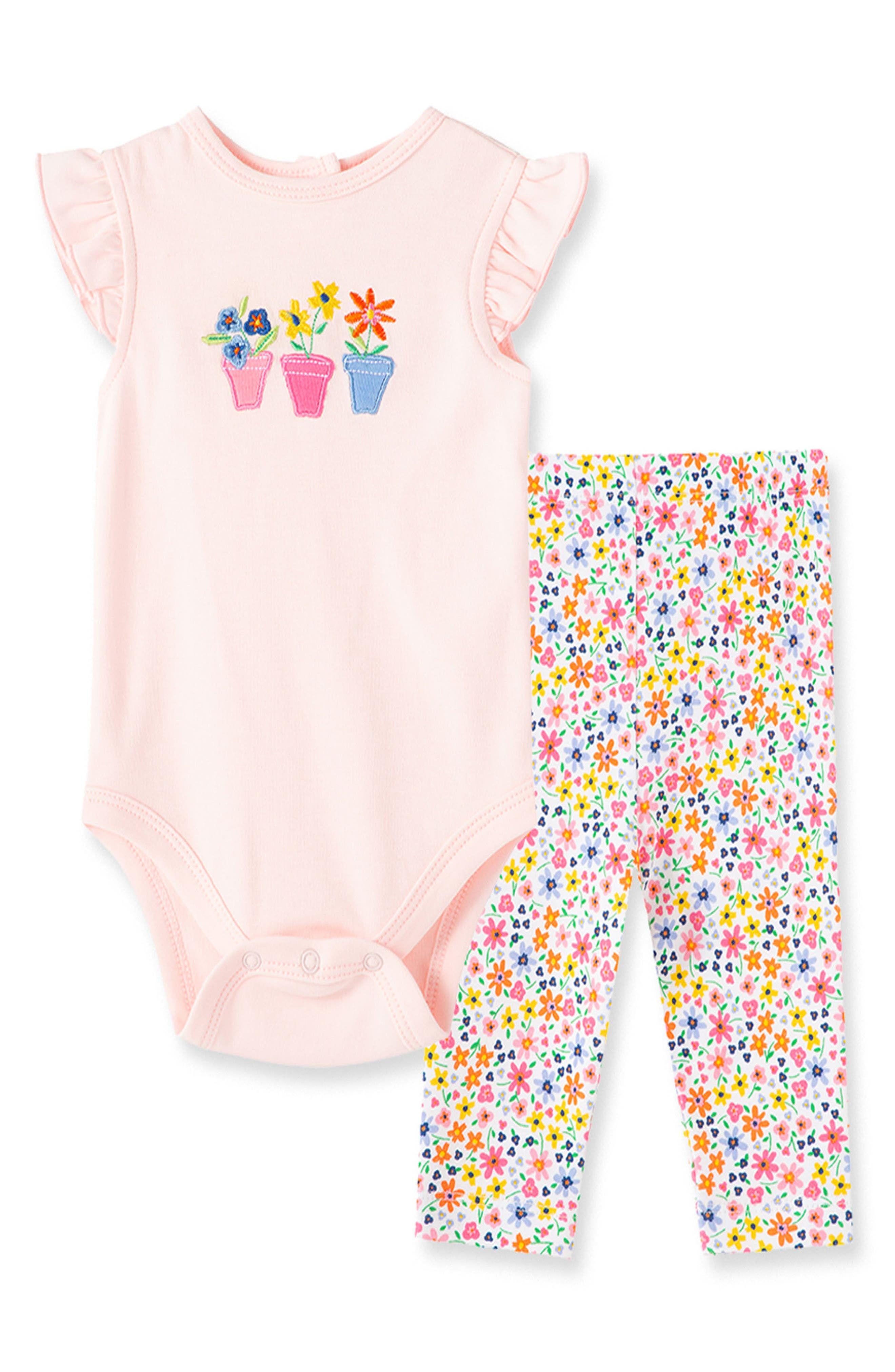 Little Me Infant Girl's Little Me Garden Bodysuit & Leggings Set