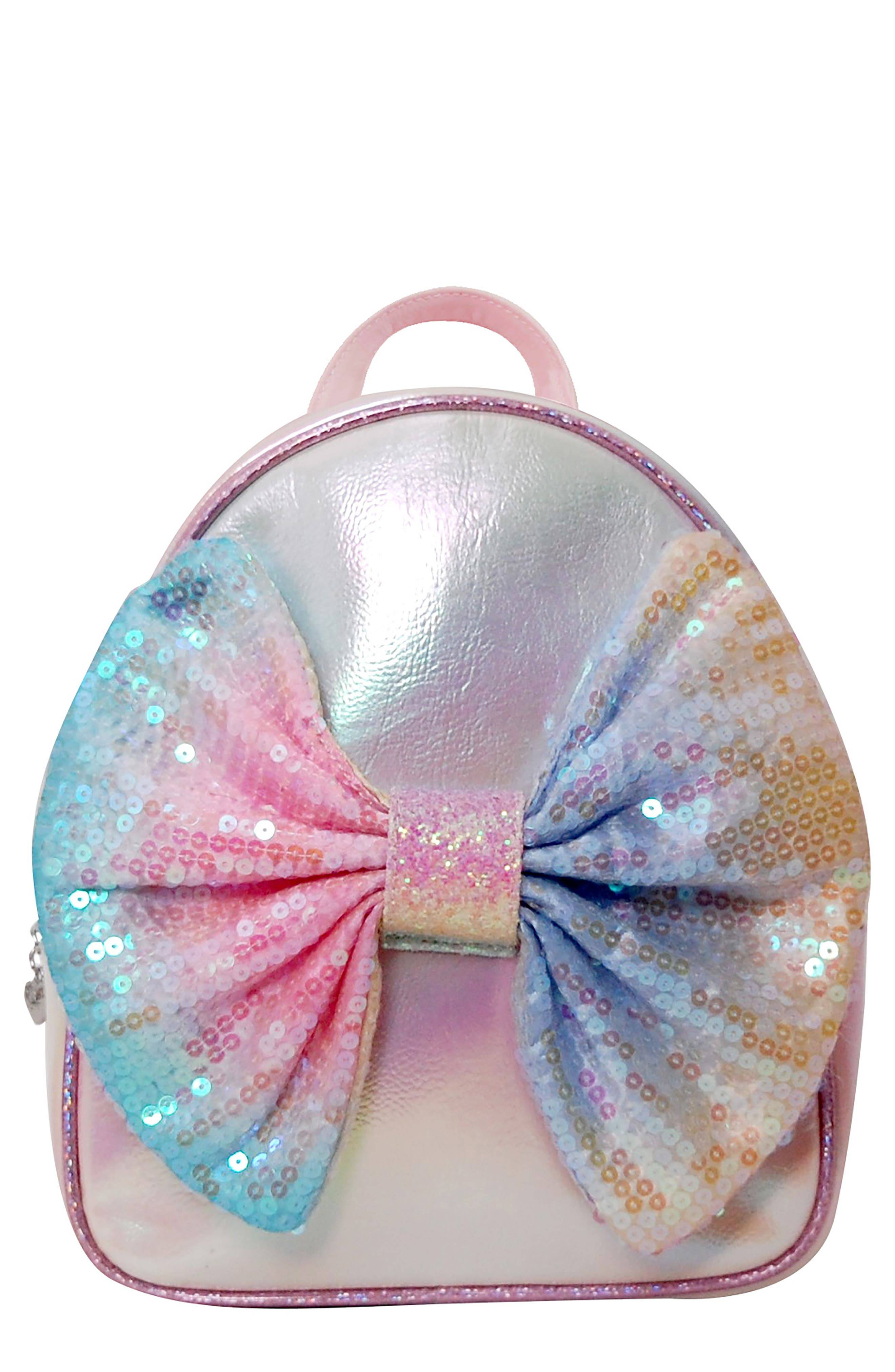 OMG Accessories Girl's Omg Ombre Sequin Bow Mini Backpack - Pink