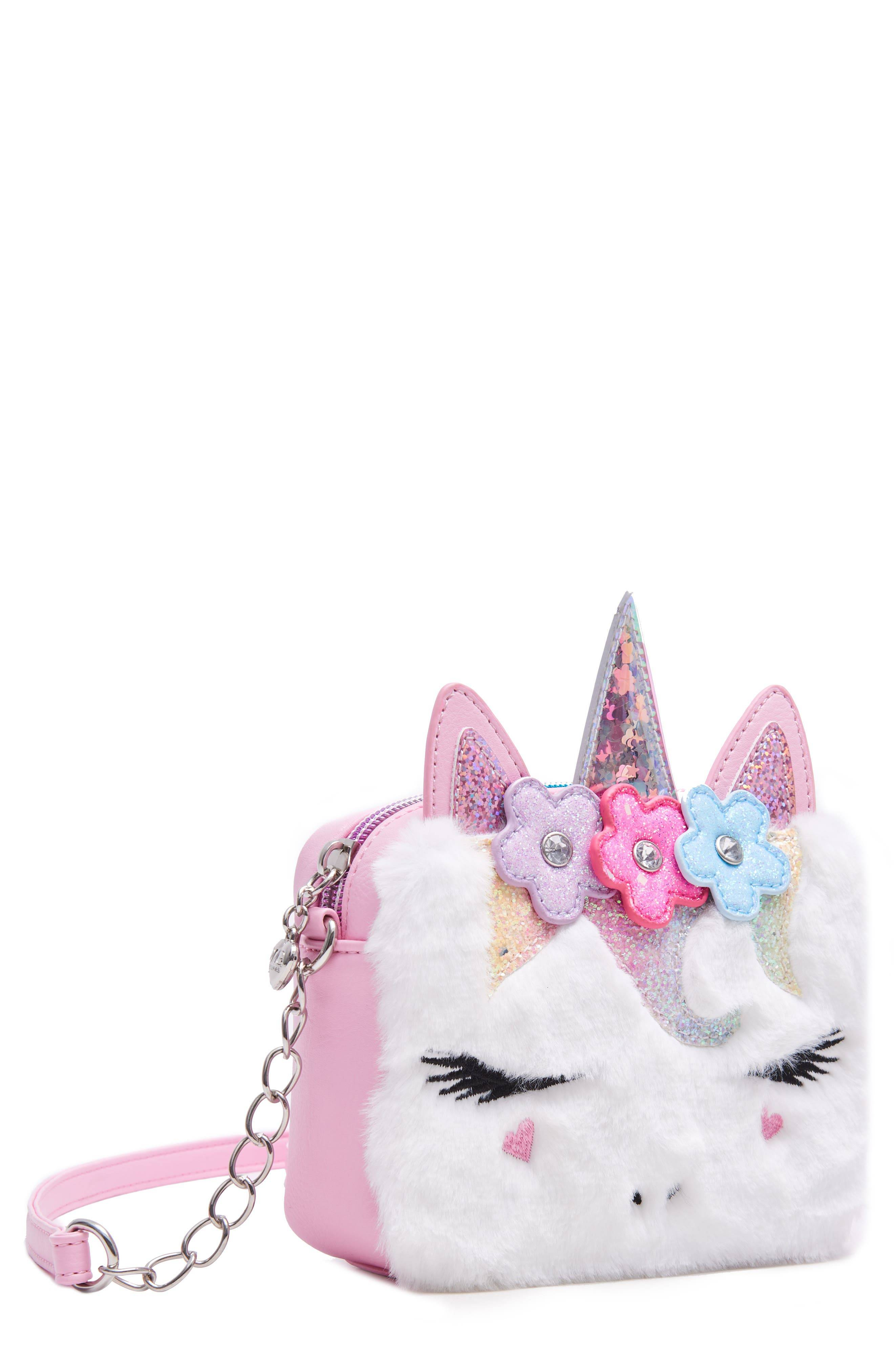 OMG Accessories Girl's Omg Miss Gwen Unicorn Faux Fur Crossbody Bag - Pink