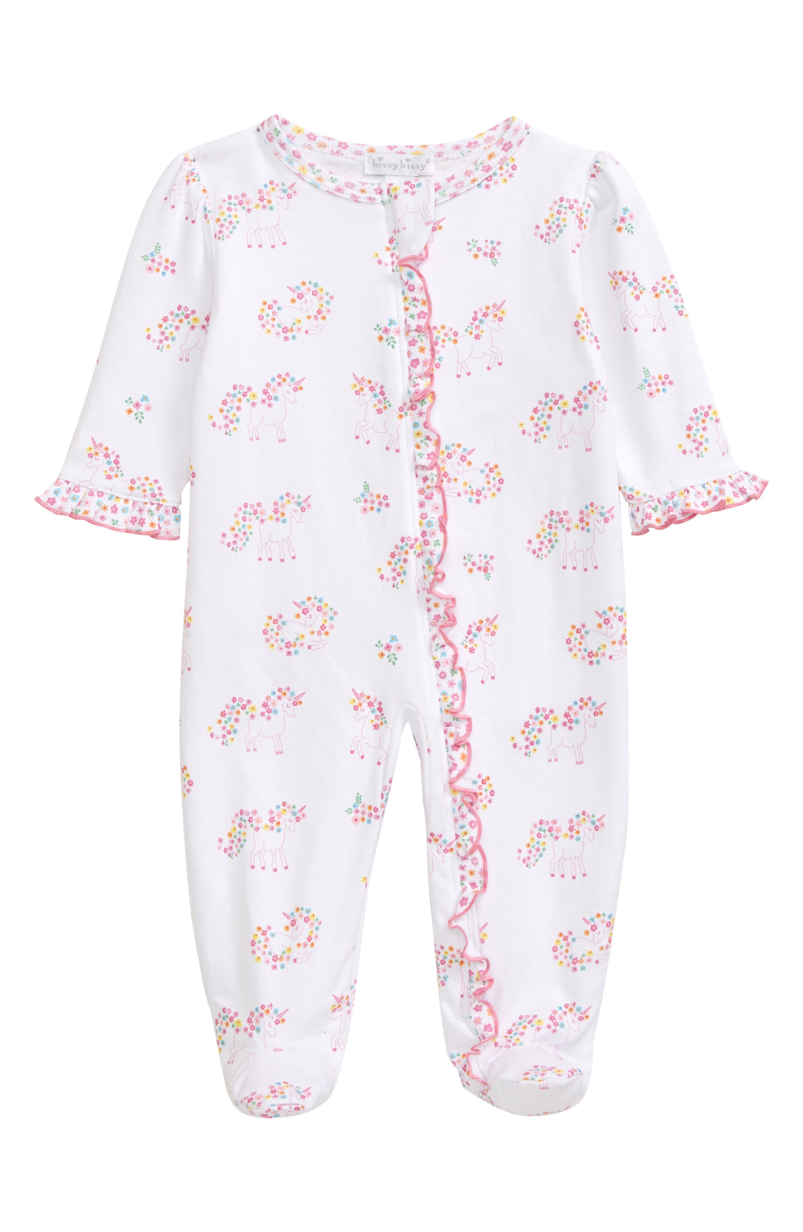 Kissy Kissy Infant Girl's Kissy Kissy Unicorn Gardens Zip Footie, Size 0-3M - Pink