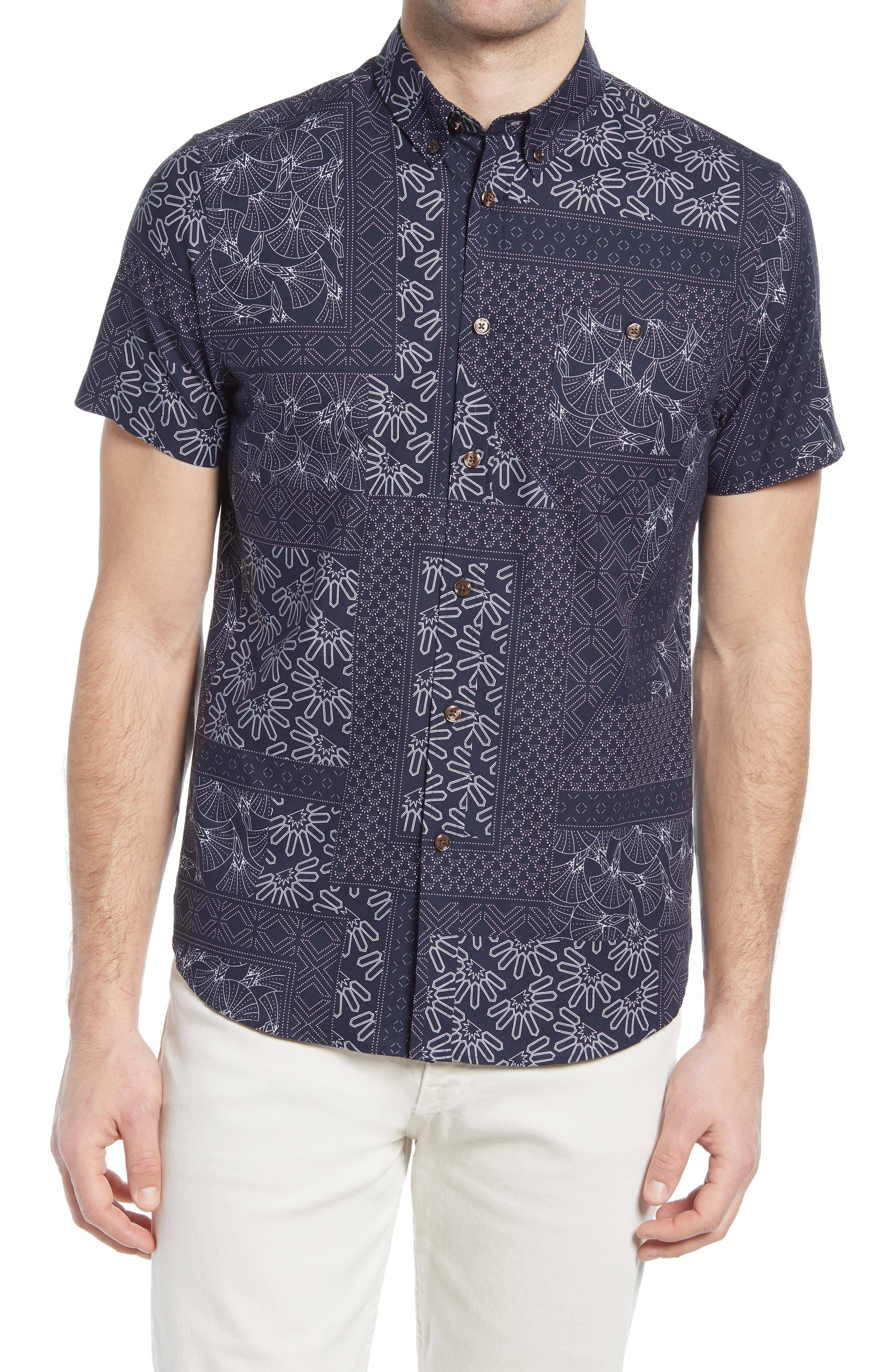 Ted Baker Men's Ted Baker London Romkom Mix Print Button-Down Short Sleeve Sport Shirt, Size 7 - Blue