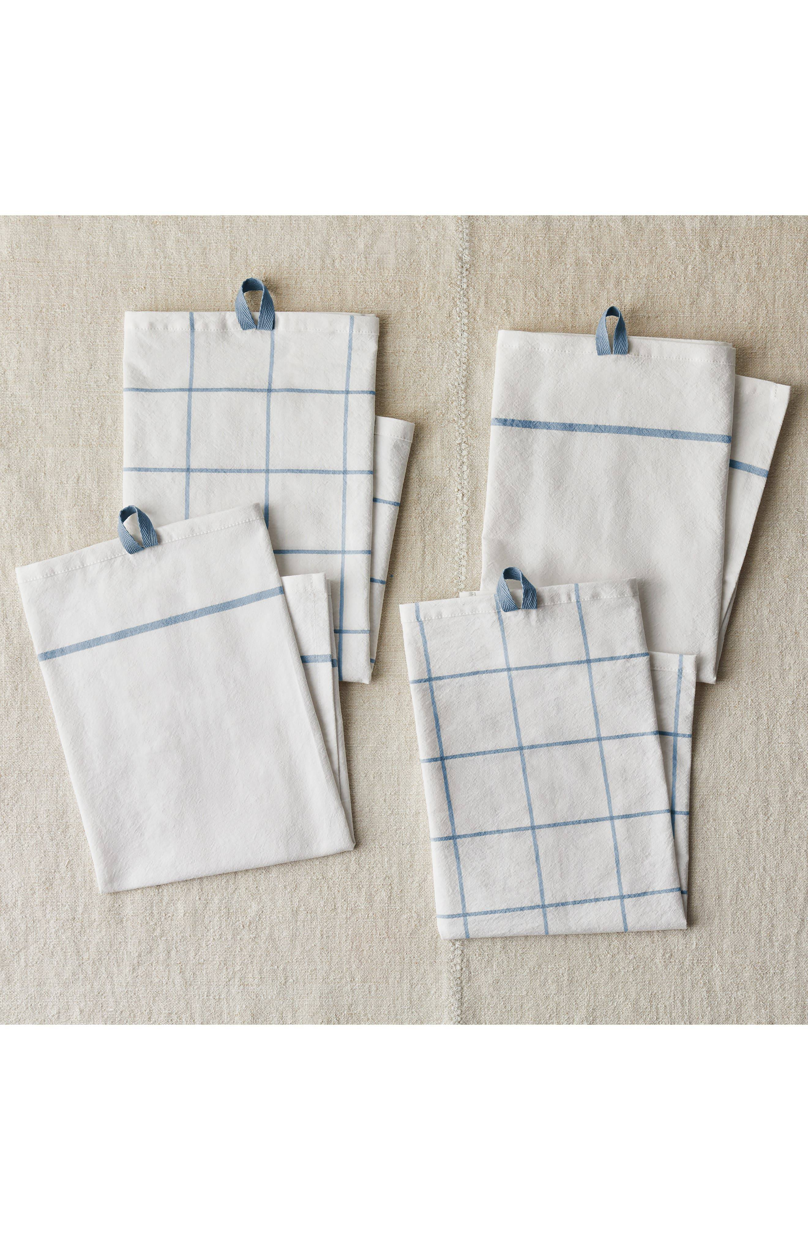 Five Two by Food52 Fivetwo Essential Set Of 4 Flour Sack Kitchen Towels, Size One Size - Blue