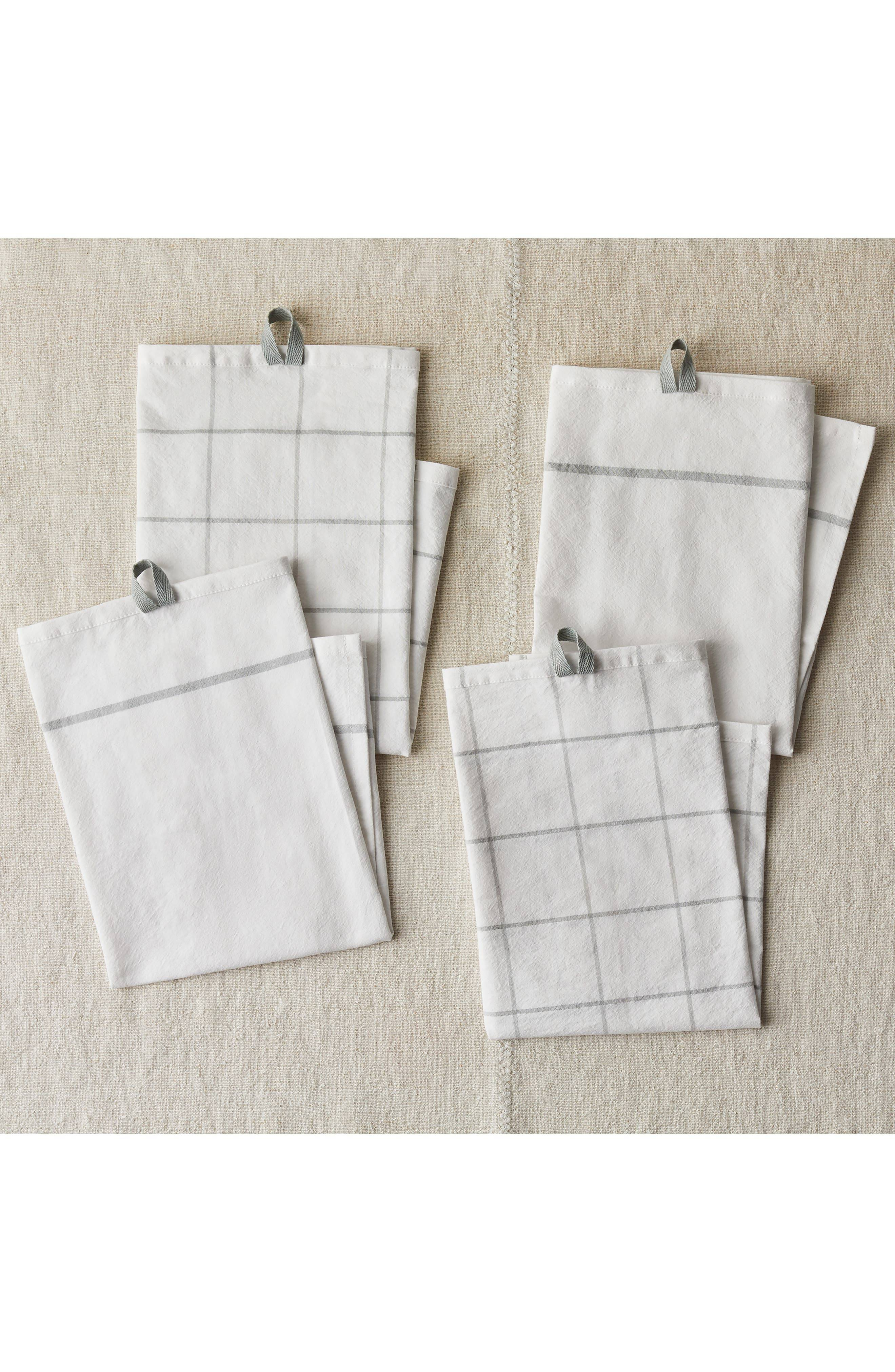 Five Two by Food52 Fivetwo Essential Set Of 4 Flour Sack Kitchen Towels, Size One Size - Grey