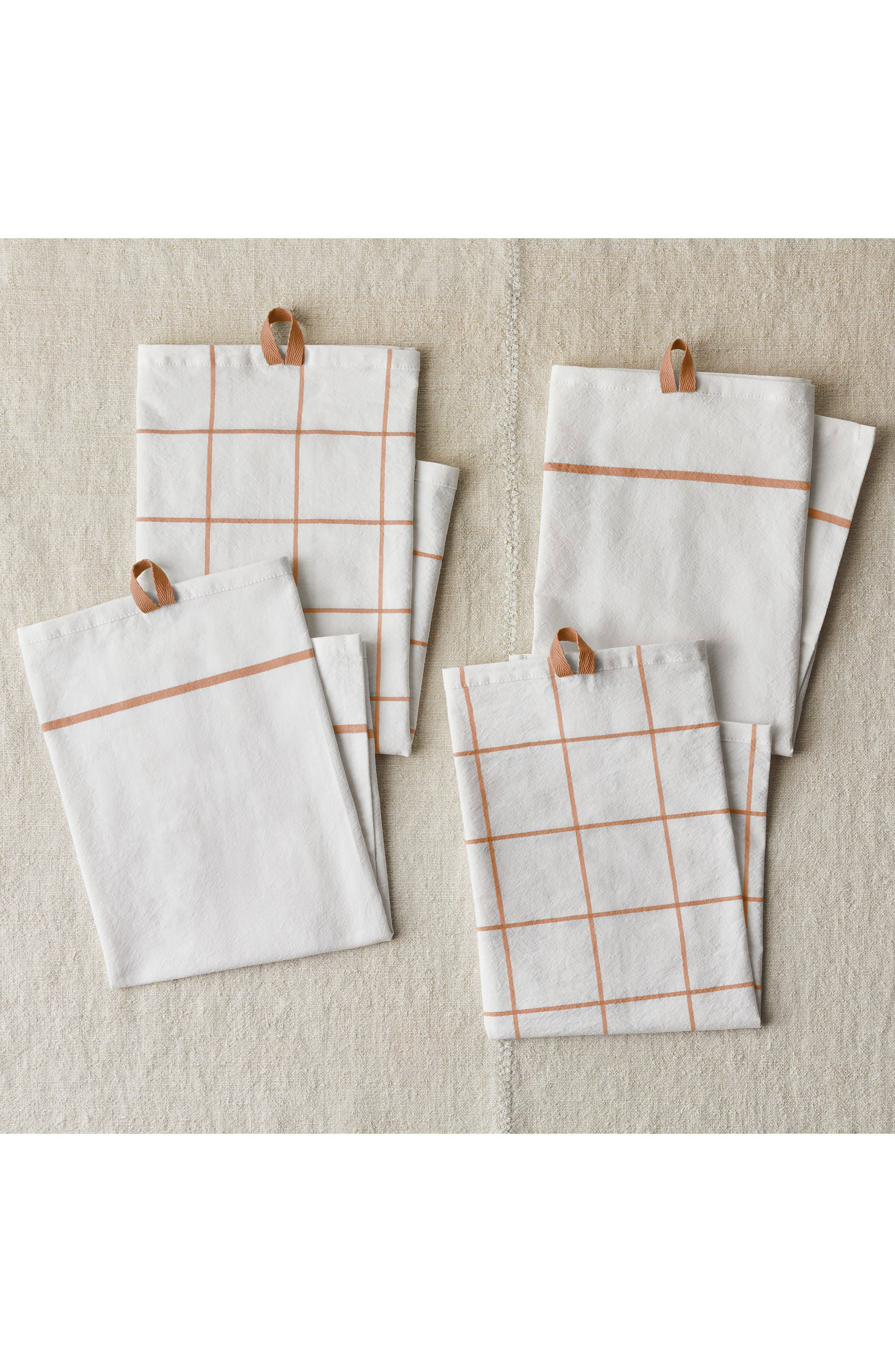 Five Two by Food52 Fivetwo Essential Set Of 4 Flour Sack Kitchen Towels, Size One Size - Orange