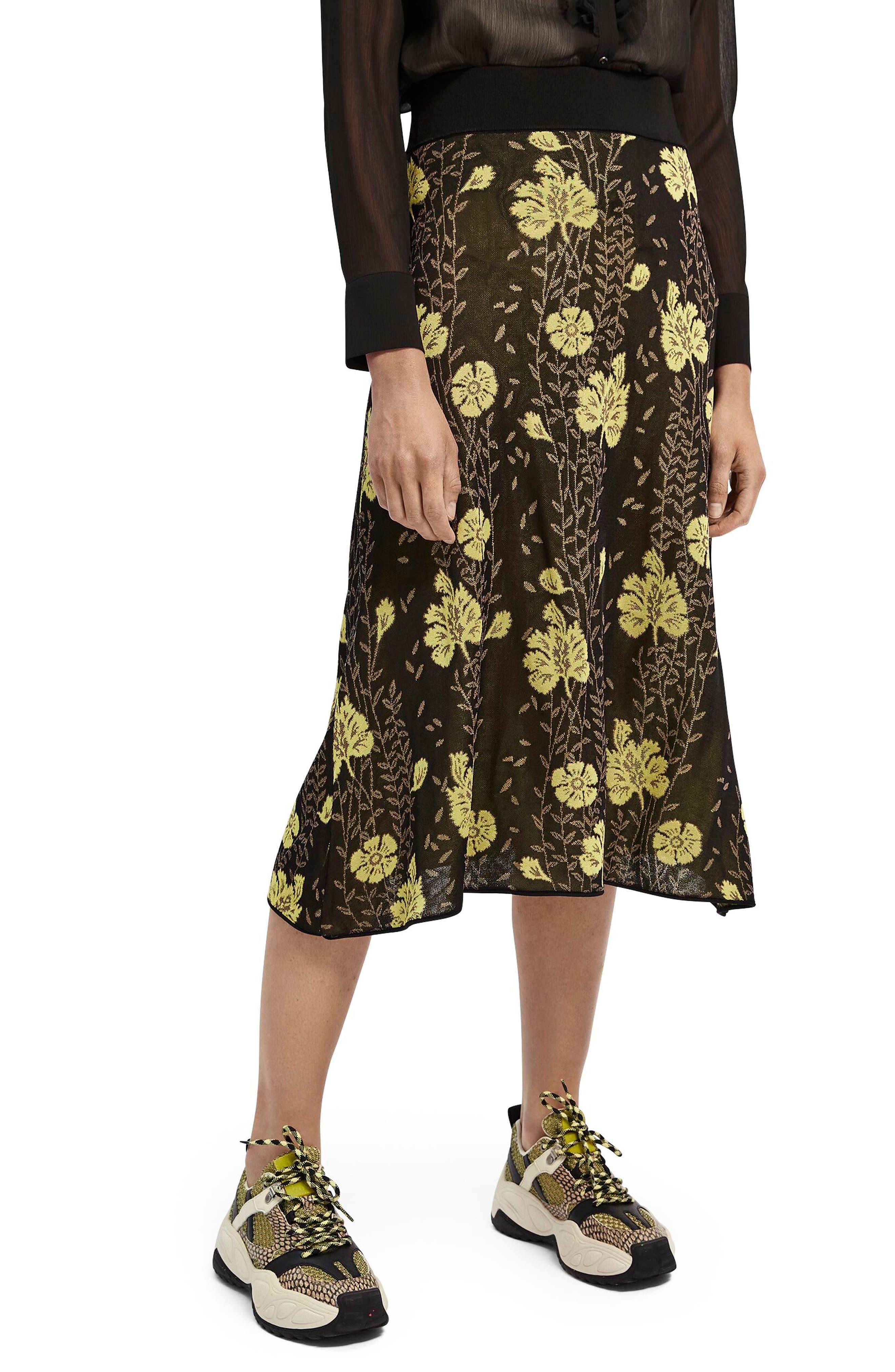 Scotch & Soda Women's Scotch & Soda Floral Knit Skirt, Size X-Large - Black