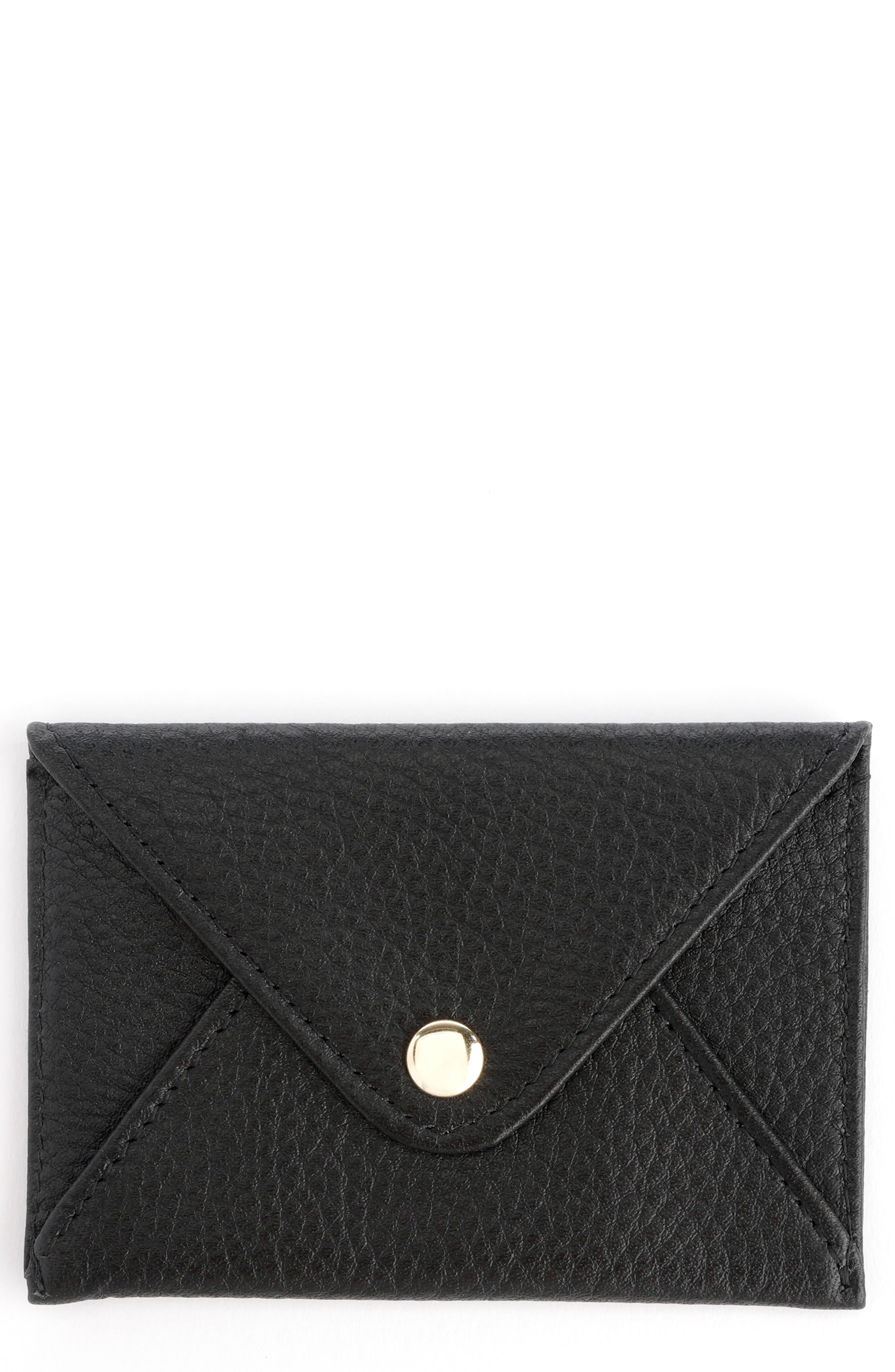 ROYCE Women's Royce Leather Envelope Card Holder - Black
