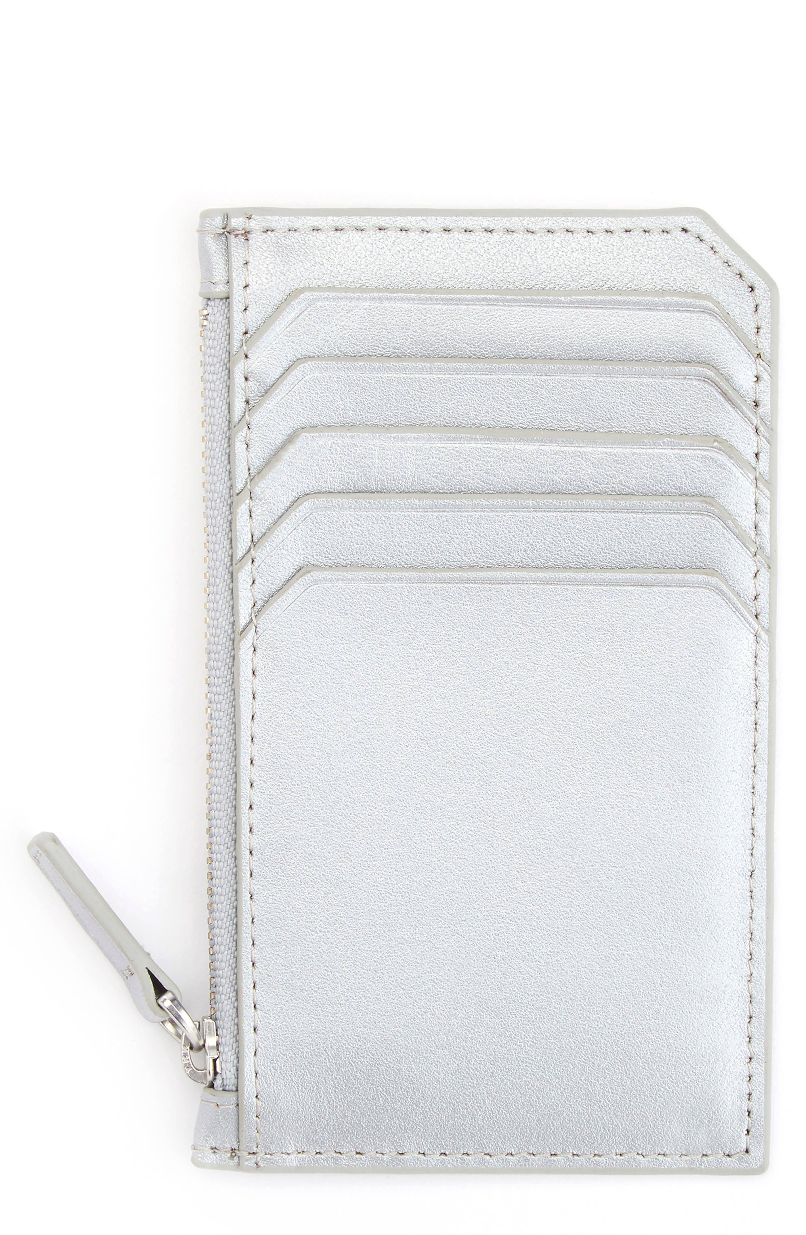 ROYCE Women's Royce Zip Leather Card Case - White