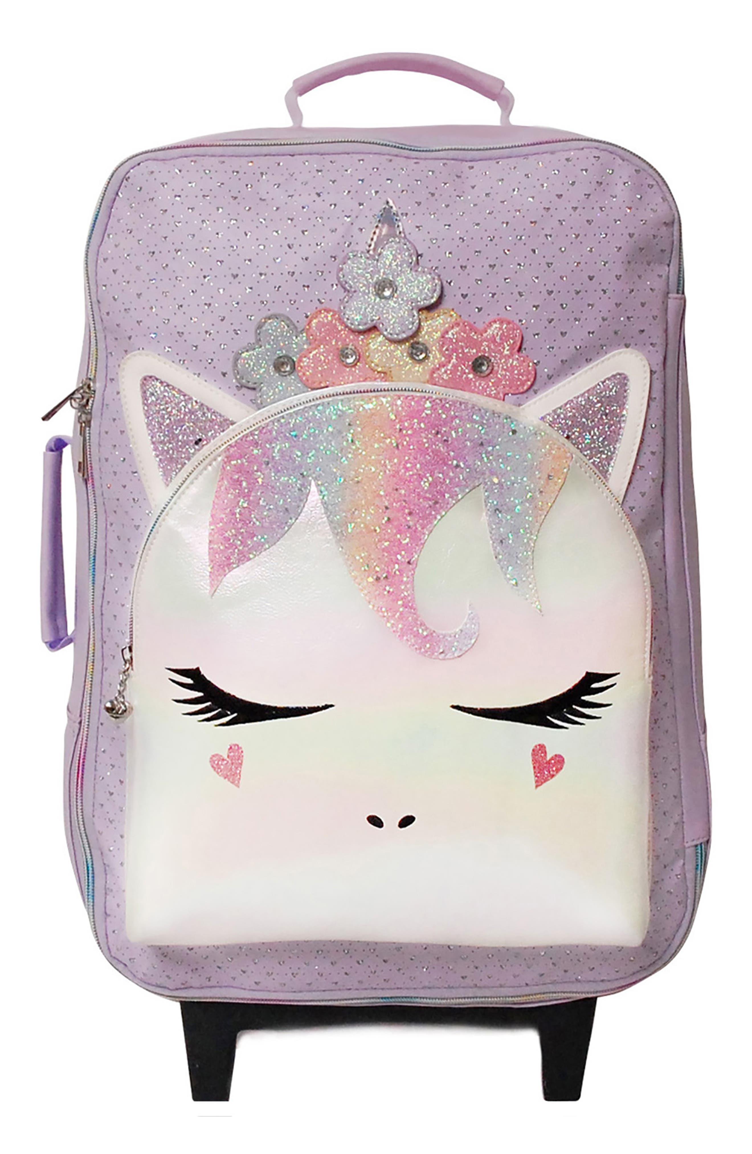 OMG Accessories Girl's Omg Accessories Miss Gwen Flower Crown Sparkle Unicorn Rolling Suitcase - Purple