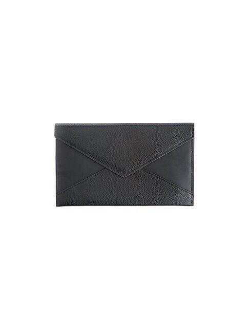 ROYCE New York Envelope Leather Clutch  BLACK  Women  size:One Size