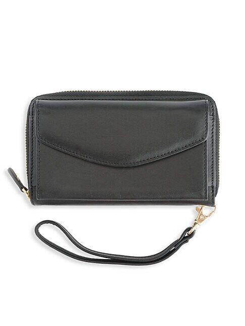 ROYCE New York Leather Wristlet Wallet  BLACK  Women  size:One Size