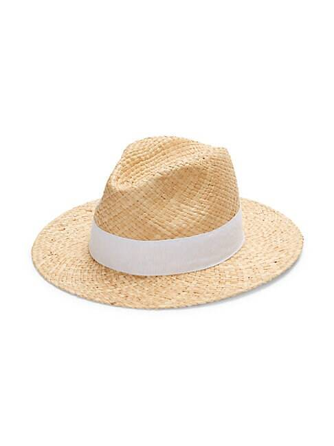 Saks Fifth Avenue Made in Italy Raffia Panama Hat  NATURAL WHITE  Women  size:One Size