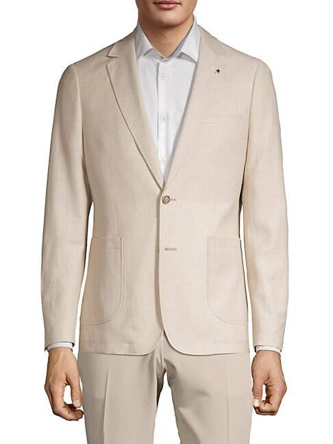 NHP Extra Slim Fit Notch Lapel Linen Blend Sport Jacket  SAND  Men  size:36 S