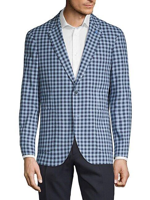 TailorByrd Gingham Sport Jacket  CORAL  Men  size:40 L