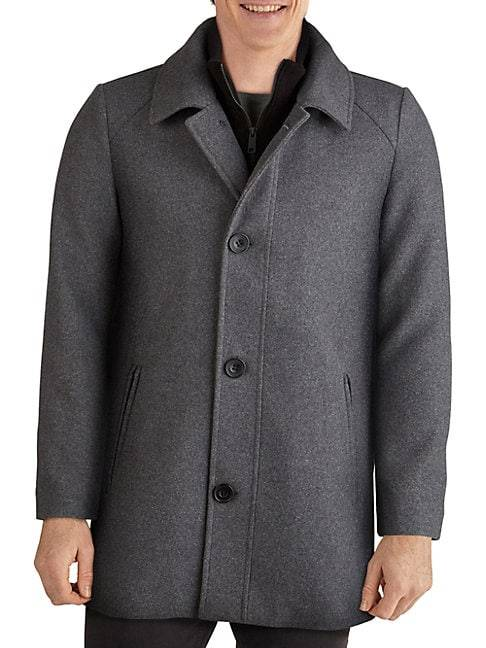 Kenneth Cole Layered-Look Wool-Blend Car Coat  BLACK  Men  size:XXL