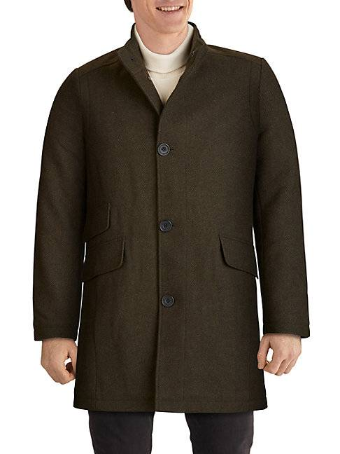 Kenneth Cole Twill Wool-Blend Car Coat  OLIVE  Men  size:M