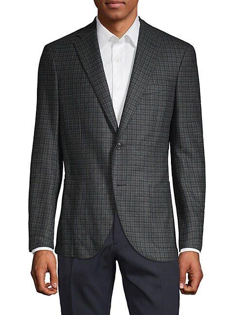 Luciano Barbera Plaid Wool & Silk Blend Sport Jacket  MED GREY  Men  size:56 (46)