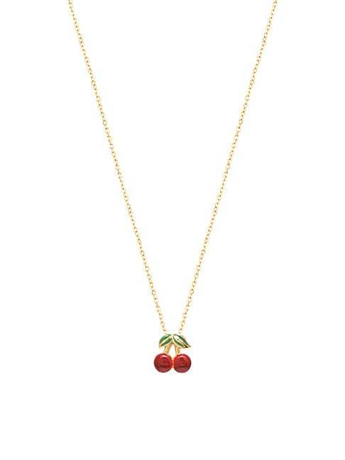 Gabi Rielle Private Garden 22K Gold Vermeil & Enamel Cherry Pendant Necklace  NO COLOR  Women  size:One Size