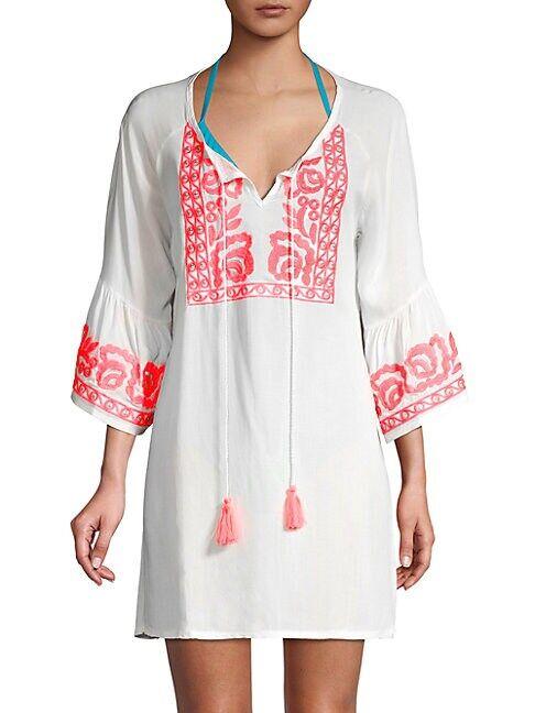 La Moda Clothing Embroidered Split Neck Coverup  WHITE  Women  size:One Size