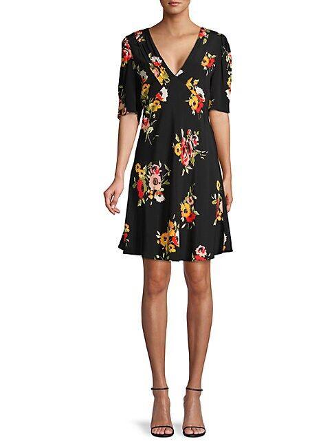 Free People Neon Garden Floral Dress  BLACK COMBO  Women  size:0