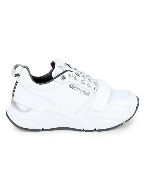 roberto cavalli SPORT Chunky Mixed-Media Sneakers  OPTIC WHITE  Women  size:38 (8)