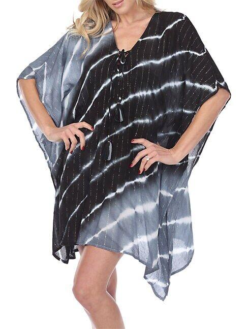La Moda Clothing Laced Tie-Dye Caftan  BLACK GREY  Women  size:One Size
