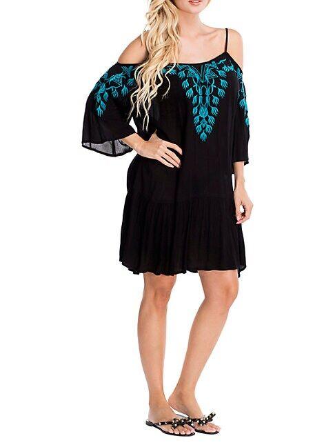 La Moda Clothing Embroidered Cold-Shoulder Beach Dress  BLACK  Women  size:S/M