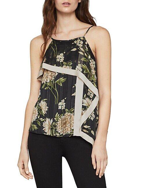 BCBGMAXAZRIA Garden Floral Handkerchief Top  BLACK FLORAL  Women  size:L