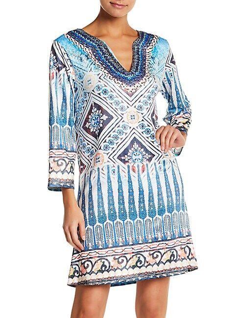 La Moda Clothing Printed Coverup Dress  BLUE  Women  size:S/M