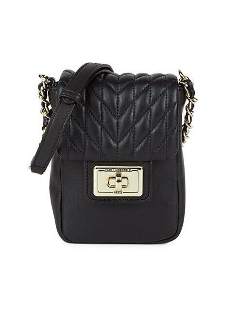 Karl Lagerfeld Agyness Phone Crossbody Bag  BLACK GOLD  Women  size:One Size