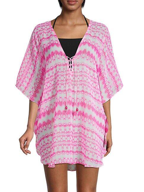 La Moda Clothing Tie-Dyed Geometric Coverup  PINK  Women  size:One Size
