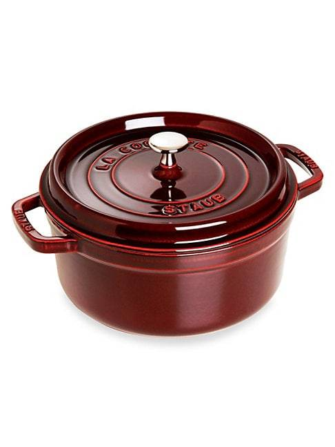 Staub 5.5-Quart Round Cocotte  GRENADINE  Not Applicable  size:One Size