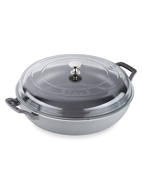 Staub 3.5-Quart Braiser with Glass Lid  GRAPHITE GREY  Not Applicable  size:One Size
