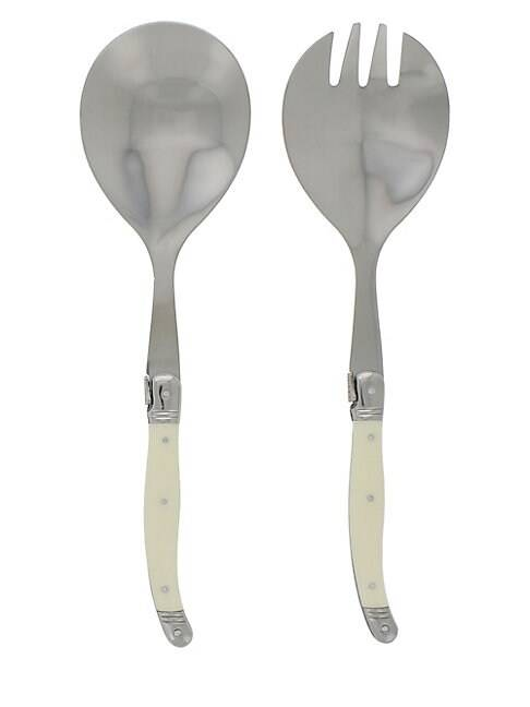 French Home Laguiole Connoisseur 2-Piece Salad Servers Set  IVORY  Not Applicable  size:One Size