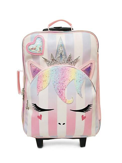 OMG Accessories Kid's Striped Unicorn PVC Suitcase  PINK  Not Applicable  size:One Size