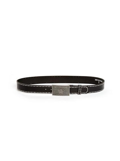 True Religion Men's Big T Stitch Belt   Black   Size 38   True Religion