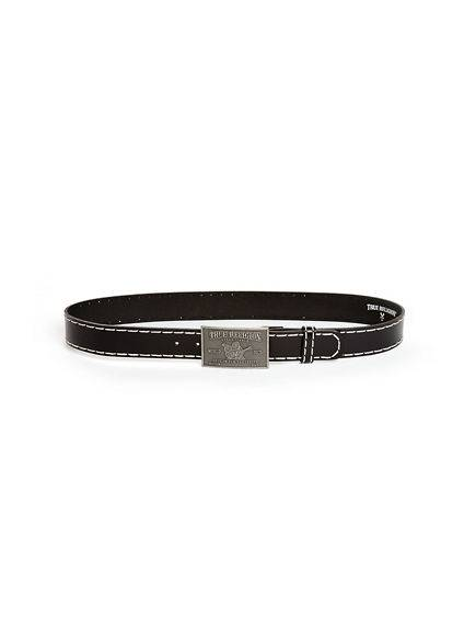 True Religion Men's Big T Stitch Belt   Black   Size 40   True Religion