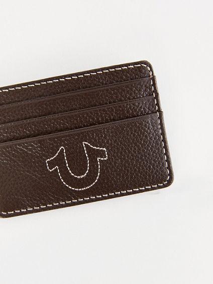 True Religion Men's True Leather Card Holder   Tan   True Religion