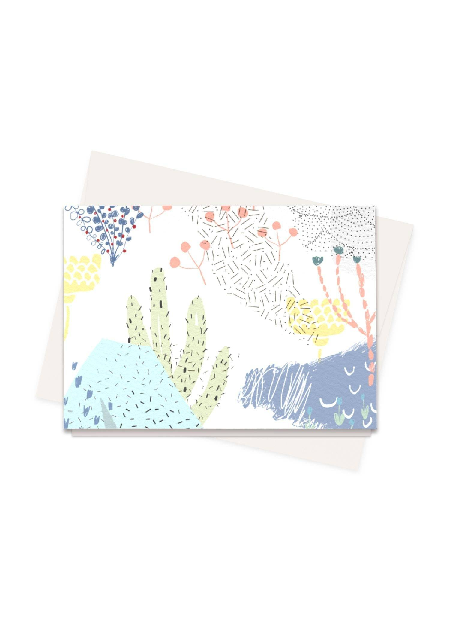 Vasula Greeting Cards Set - Abstract Garden by Vasula Original Artist  - Size: Set of 16