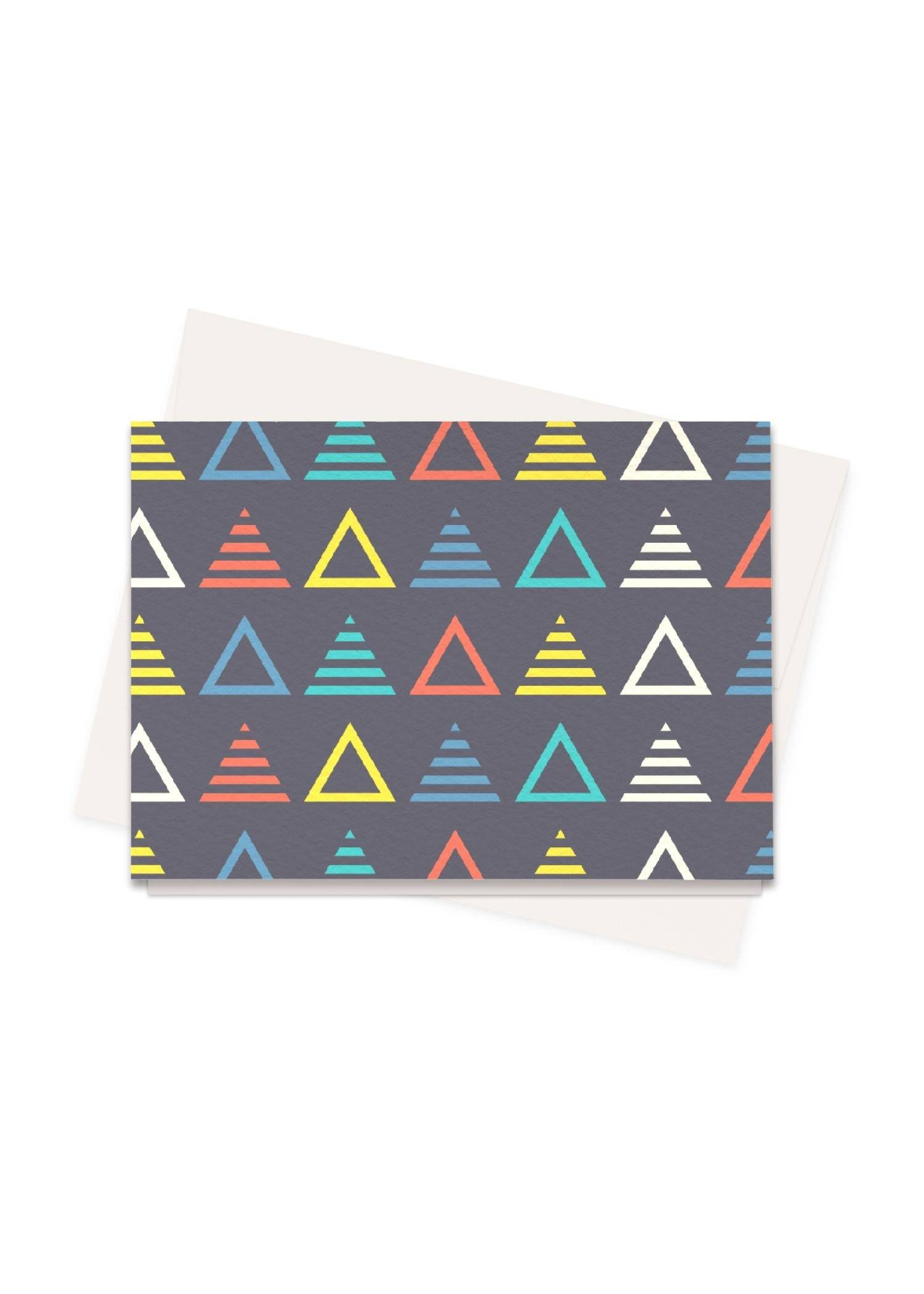 VIDA Greeting Cards Set - Music Symmetric Triangle by VIDA Original Artist  - Size: Set of 8