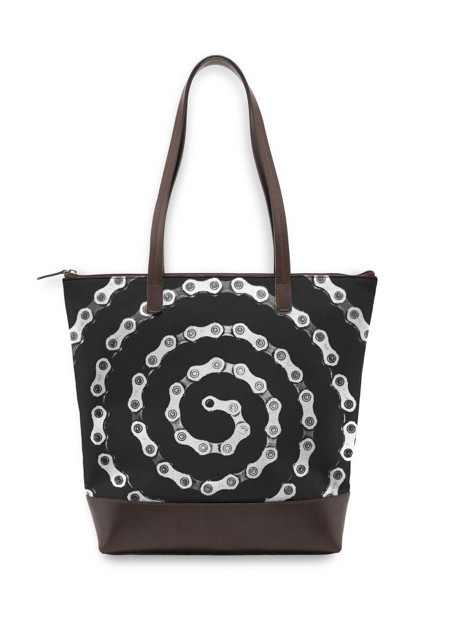 VIDA Statement Bag - Bike Chain Spiral by VIDA Original Artist  - Size: One Size