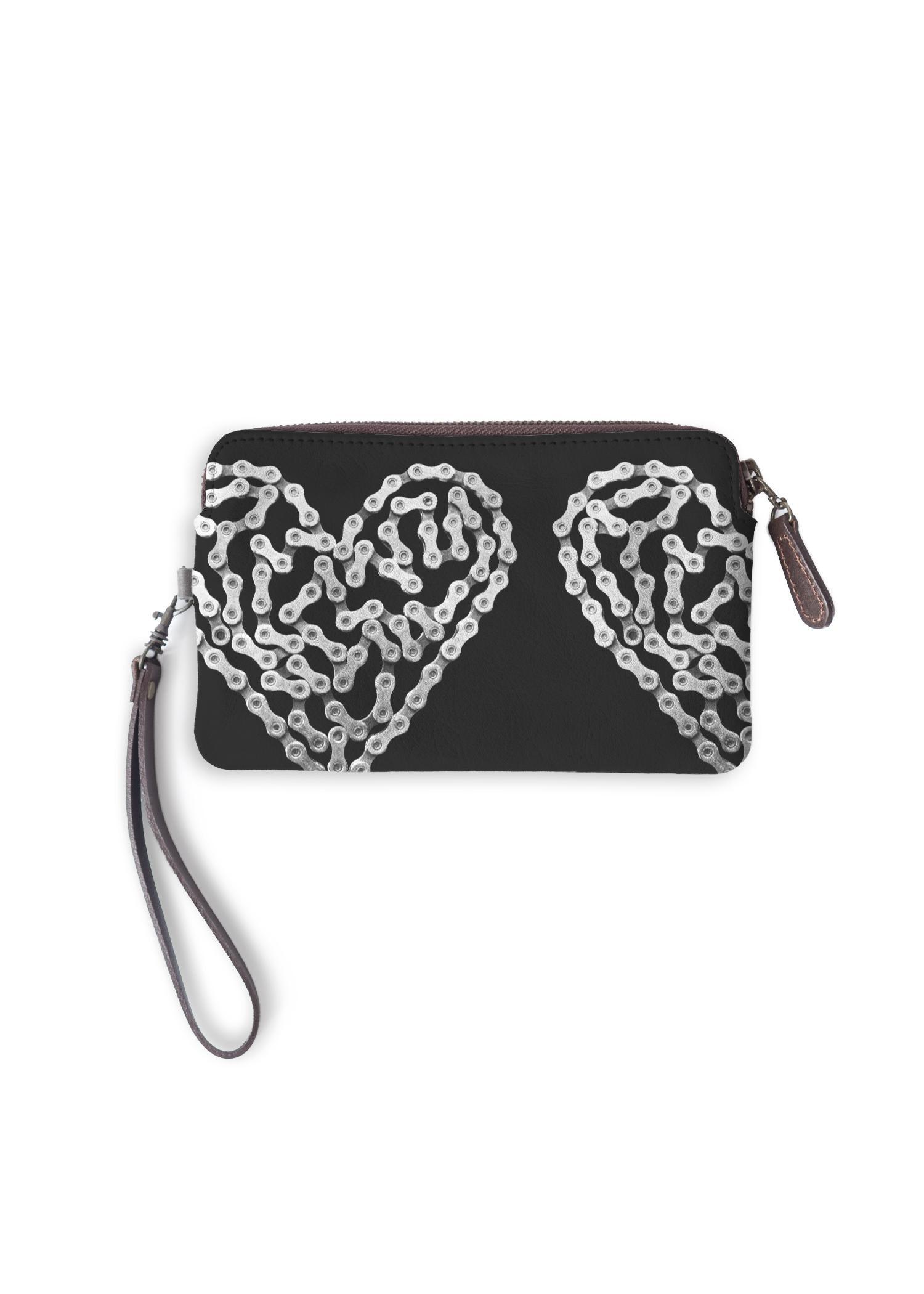 VIDA Leather Statement Clutch - Bike Chain Heart by VIDA Original Artist  - Size: One Size