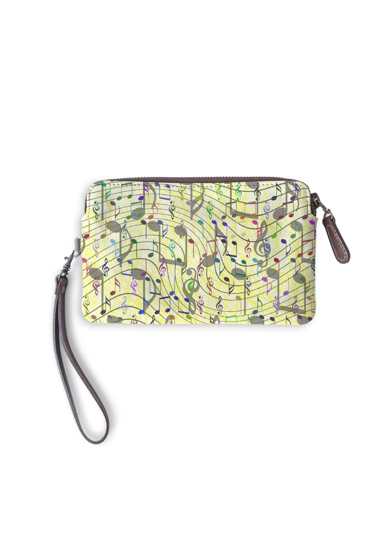 VIDA Leather Statement Clutch - Chaotic Music Notation by VIDA Original Artist  - Size: One Size
