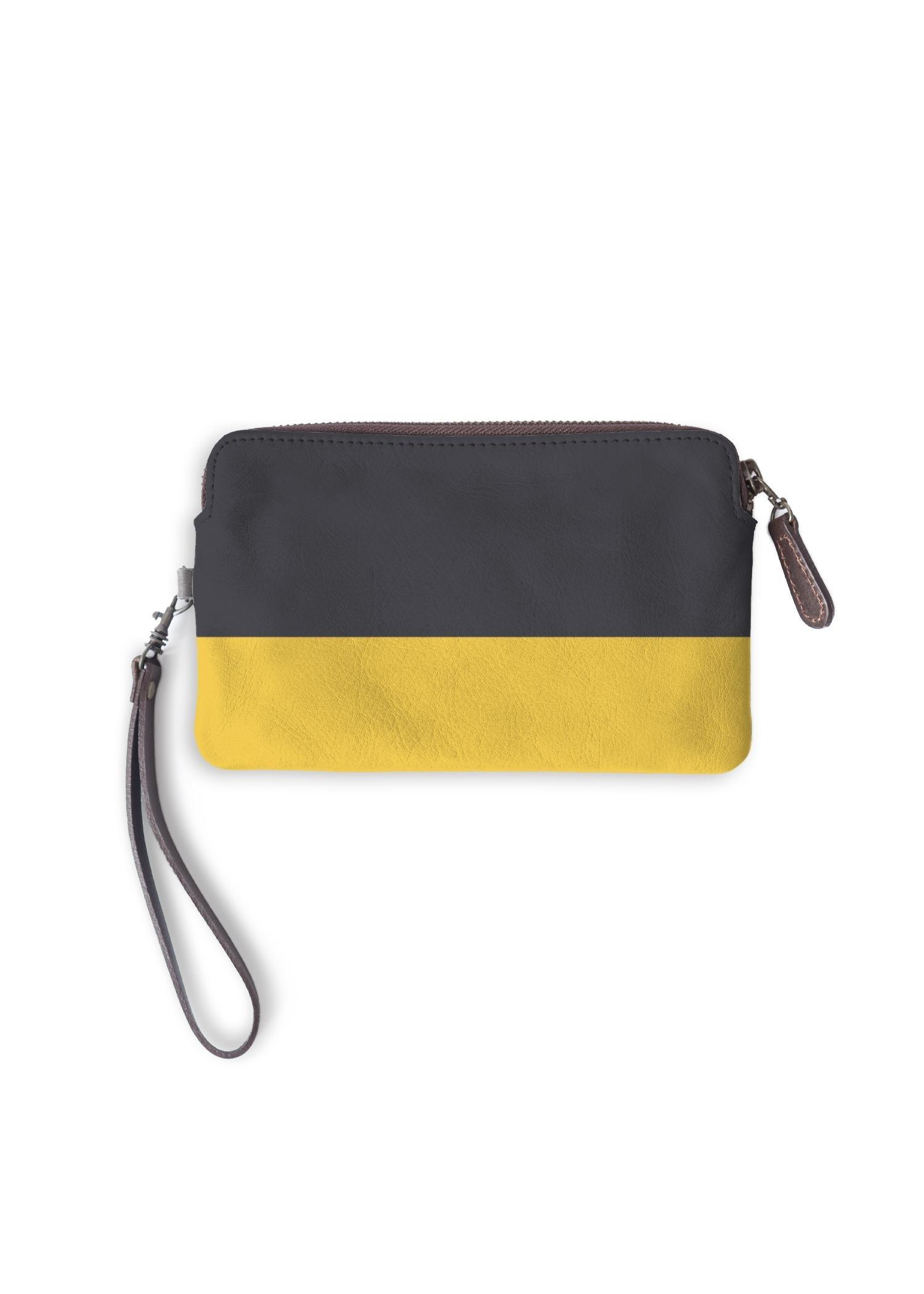 VIDA Leather Statement Clutch - Blue Yellow Fashion by VIDA Original Artist  - Size: One Size